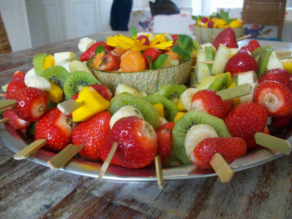 Platter of fruit brochettes