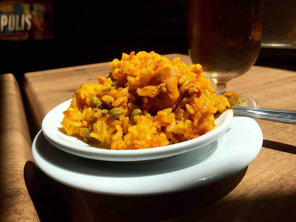 Picture of a serving of baked spanish rice