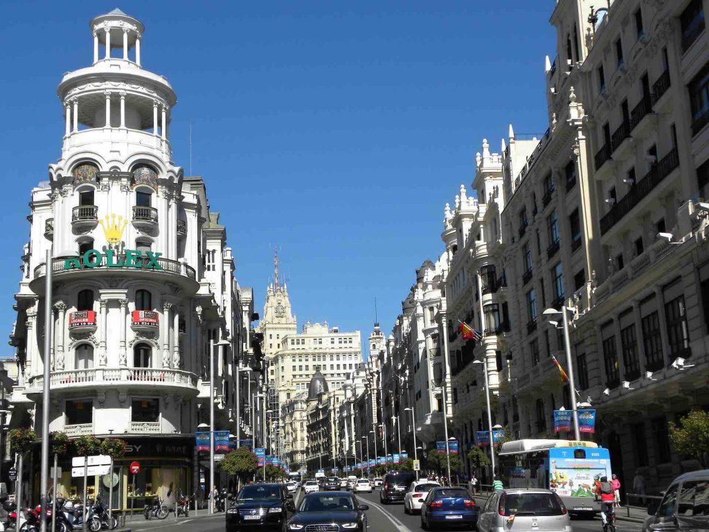 Busy car road in Madrid Spain
