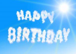 """Happy birthday"" written in the sky"