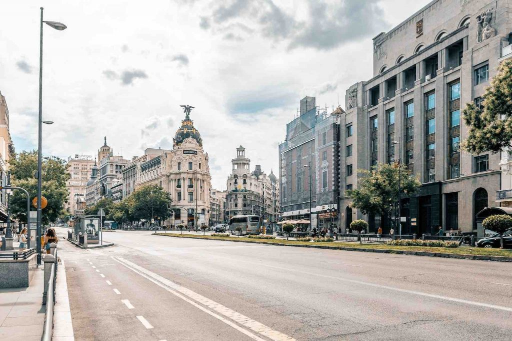 Street level view of Madrid, Spain