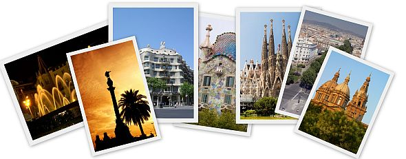 Collage of Barcelona tourist landmarks