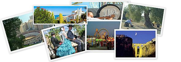 Collage of tourist attractions in Andalucia and Costa del Sol