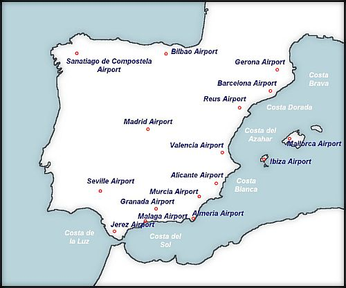 map of spanish airports