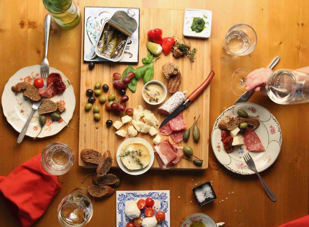 Spanish tapas spread on a table