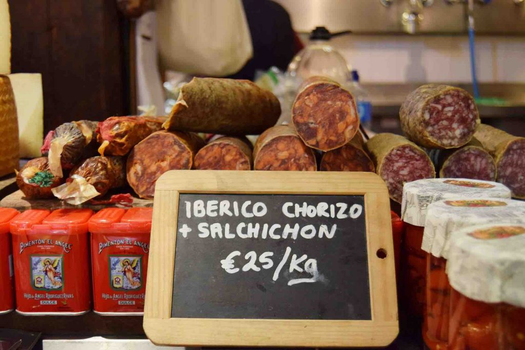 Various Spanish hams and chorizos