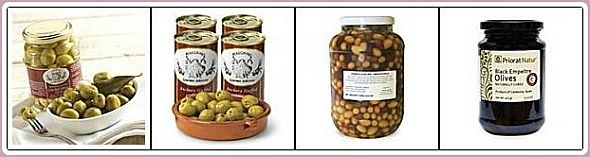 Picture of different types of Spanish olives