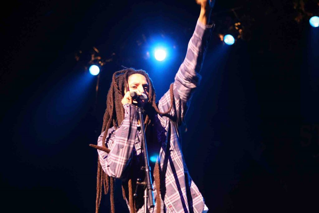 Bob Marley performing reggae