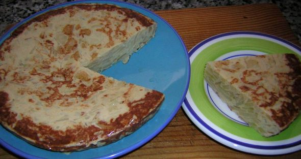 Picture of a spanish style omelette (called a tortilla)