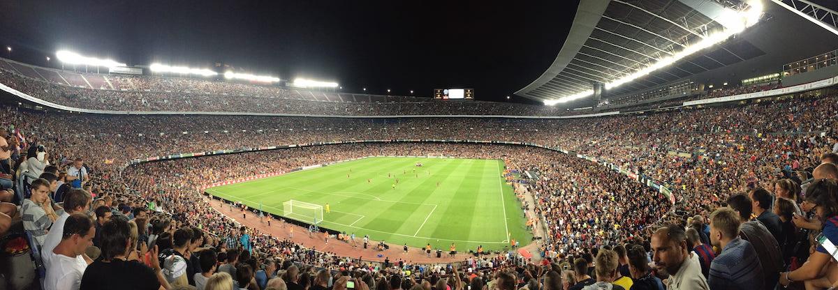 Wide lens image of Camp Nou in Barcelona